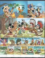 J894 GAMBIA WALT DISNEY MICKEY MOUSE & FRIENDS ADVENTURES WILD WEST 4BL+1SET MNH - Disney