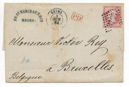 1864 - LETTRE De REIMS (MARNE) => BRUXELLES (BELGIQUE) - Postmark Collection (Covers)