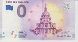 Billet Touristique 0 Euro Souvenir France 75 Dôme Des Invalides 2018-5 N°UEAV000846 - EURO