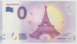 Billet Touristique 0 Euro Souvenir France 75 Tour Eiffel 2018-4 N°UEBU001145 - EURO