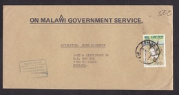 Malawi: Official Cover Zomba To Netherlands, 1988, 1 Stamp, Olympics, Female Tennis, Rare Real Use (traces Of Use) - Malawi (1964-...)