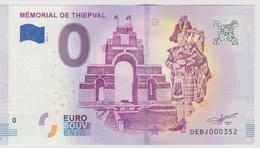 Billet Touristique 0 Euro Souvenir France 80 Mémorial De Thiepval 2018-3 N°UEBJ000352 - Essais Privés / Non-officiels
