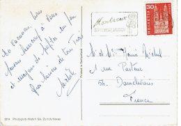 """1967 - Suisse - Carte Postale Pour La France - Tp N°648 Oblitération Secap """"MONTREUX SEPTEMBRE MUSICAL"""" - Poststempel"""