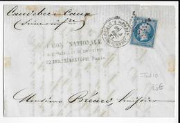 1863 - PARIS - LETTRE De RUE NEUVE BOURG L'ABBE Avec ETOILE 16 - IND 10 - Marcophilie (Lettres)