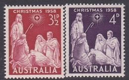 Australia ASC 339-340 1958 Christmas, Mint Never Hinged - 1952-65 Elizabeth II : Pre-Decimals
