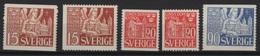 Sweden (1946)  Yv. 319/21 + 319a/20a  /  MNH - Suède