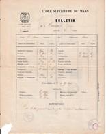 Année Scolaire 1868/69 - ECOLE SUPÉRIEURE Du MANS - Bulletin Du 3°trimestre - Documents Historiques