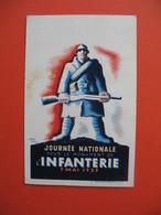 Carte Journée Nationale Pour Le Monument De L'infanterie 7 Mai 1939 Affranchie Avec Le 55c+70c Et 65c+1f10 - Weltkrieg 1939-45