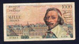 Banconota Francia 1000 Francs 5-1-1956 (circolata) - 1955-1959 Sovraccarichi In Nuovi Franchi