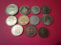 DÉPART 1.5 €  LOT DE 11 MONNAIES Pièces Du Monde URUGUAY 1909 MONACO 82 Et Autres à Trier Non Nettoyées - Coins & Banknotes