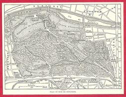 Plan Du Bois De Boulogne, Paris, Larousse 1951 - Vieux Papiers