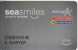 GREECE - Attica Group/Superstar-Bluestar Ferries, Sea Miles Member Card, Used - Hotel Keycards