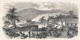Nouvelle Calédonie Vue Générale Du Pénitencier De L' île De Nou 1868 - Old Paper