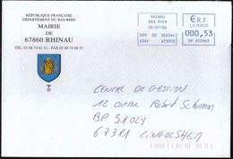 France Rhinau 2006 / Mairie De Rhinau / Bas-Rhin / Coat Of Arms / Church / Machine Stamp - Marcophilie (Lettres)