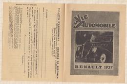 8AK1527 PUBLICITE LA VIE AUTOMOBILE RENAULT 1937 Double 13.5 X 10.5 Cm (plié ) 2 SCANS - Non Classés