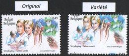 VARIETE N°3153** (1) 0,49 LE PERSONNEL SOIGNANT (3150-3155 : DESIRE ROEGIEST, 23/01/2003) : DECADRAGE SUPERIEUR 28 - Abarten Und Kuriositäten