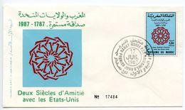 Morocco 1987 Scott 642 FDC US-Morocco Diplomatic Relations 200th Anniversary - Morocco (1956-...)