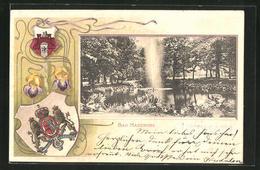 Passepartout-Lithographie Bad Harzburg, Fontäne Unter D. Eichen Mit Wappen - Cartes Postales