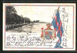 Passepartout-Lithographie Brake A. D. Weser, Partie Am Weserstrand Mit Wappen Und Flagge - Brake