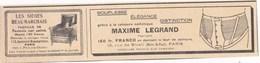 """Pub.1931 Maxime Legrand Ceinture Esthétique """"souplesse,élégance,distinction""""   Beaumarchais Sièges,faut""""euils Cuir TBE - Publicités"""
