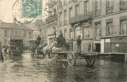 NANTES PENDANT LES INONDATIONS - FEVRIER 1904 - QUAI BRANCAS - TRAMWAY - BELLE ANIMATION - QSD8 - Nantes