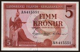 5 Kronur, 1957 - Iceland