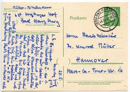 Germany 1960 10pf Heuss Postal Card Bad Harburg To Hannover - [7] Federal Republic