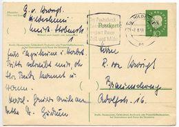 Germany 1959 10pf Heuss Postal Card Hildesheim To Braunschweig - [7] Federal Republic