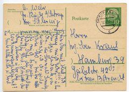 Germany 1957 10pf Heuss Postal Card Satrup To Hamburg - [7] Federal Republic