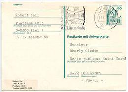 Germany 1979 50pf Castle Postal Card Kiel To Dinan, France - [7] Federal Republic