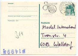 Germany 1978 40pf Postal Card Kampten To Walldorf - [7] Federal Republic