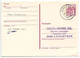 Germany 1987 60pf Castle Postal Card Miellen To Lahnstein - [7] Federal Republic