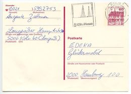Germany 1983 60pf Castle Postal Card Köln To Hamburg - [7] Federal Republic
