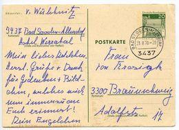 Germany 1970 20pf Postal Card Bad Sooden-Allendorf To Braunschweig - [7] Federal Republic