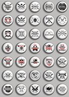 Baseball Fan ART BADGE BUTTON PIN SET 1 (1inch/25mm Diameter) 35 DIFF - Baseball