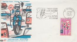 Enveloppe  FDC   FRANCE  Flamme   Du   1er   Jour    PREVENTION  ROUTIERE   OYONNAX  1968 - 1960-1969