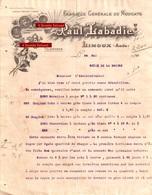 Beau Document Du 24/05/1910 PAUL LABADIE Nougat - Limoux 11 - 1900 – 1949