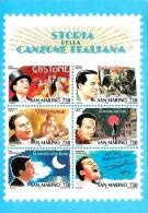 [MD1987] CPM - STORIA DELLA CANZONE ITALIANA - FOGLIETTO FRANCOBOLLI REPUBBLICA SAN MARINO - CON ANNULLO 25.9.2009 - NV - Musica E Musicisti