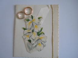 Felicitaties Huwelijk Felicitations De Mariage Carte Double Bagues Ringen Orchidee Decoupis 11,5 X 14 Cm - Other