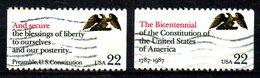USA. 2 Timbres Oblitérés De 1987. Bicentenaire De La Constitution. - Unabhängigkeit USA