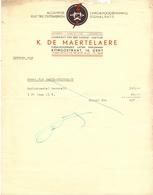 Factuur Facture - Electriciteit K. De Maertelaere - Gent - Électricité & Gaz