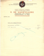 Factuur Facture - Electriciteit K. De Maertelaere - Gent - Electricity & Gas