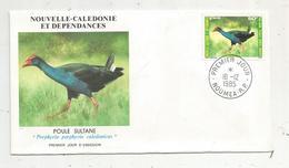 Timbre , Premier Jour , 1985 , NOUVELLE CALEDONIE ET DEPENDANCES , Oiseaux , Poule Sultane - FDC