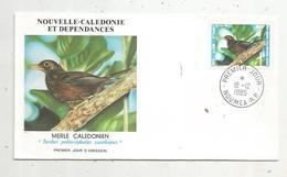 Timbre , Premier Jour , 1985 , NOUVELLE CALEDONIE ET DEPENDANCES , Oiseaux , Merle Calédonien - FDC