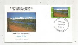 Timbre , Premier Jour , 1986 , NOUVELLE CALEDONIE ET DEPENDANCES , Paysages Régionaux, Paysage Du Sud - FDC