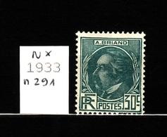 1933 N 291 N* AF144 - Neufs