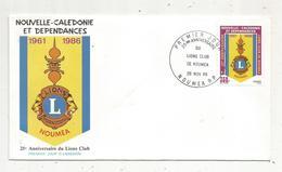 Timbre , Premier Jour , 1986 , NOUVELLE CALEDONIE ET DEPENDANCES , 25 éme Anniversaire Du Lions Club - FDC