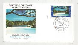 Timbre , Premier Jour , 1986 , NOUVELLE CALEDONIE ET DEPENDANCES , Paysages Régionaux , Baie De Kanumera , île Des Pins - FDC