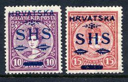 YUGOSLAVIA 1918 SHS Hrvatska Overprint On Hungary  Coronation Set Of 2 LHM / *.   Michel 64-65 - 1919-1929 Kingdom Of Serbs, Croats And Slovenes