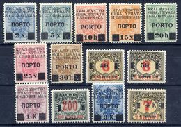 YUGOSLAVIA 1919 Postage Due Overprints On Bosnia Set Of 13 LHM / *.  Michel Porto 14-26 - Postage Due